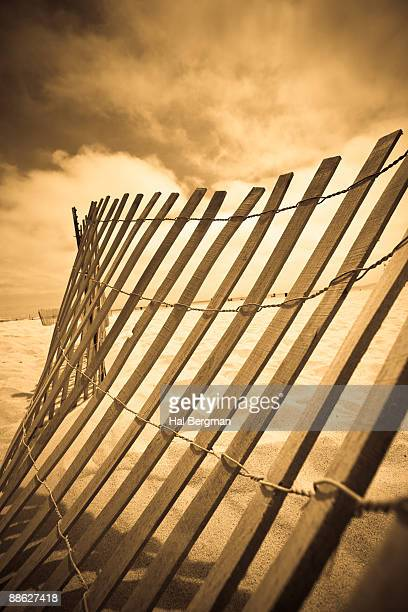 Old Wooden Beach Fence