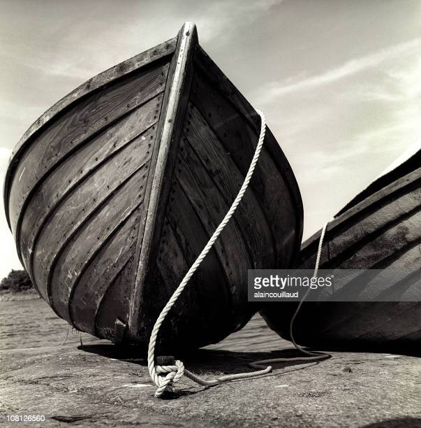 Old Wooden Boat Bow Close-up, Black and White, Sepia