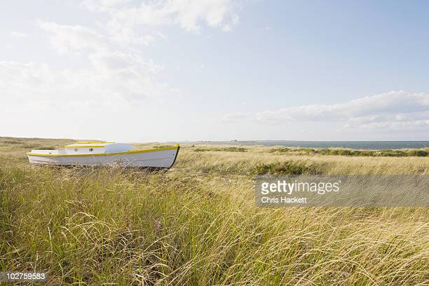 old wooden boat in the grass - nantucket stock pictures, royalty-free photos & images