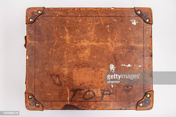 Old Wooden Box with Riveted Leather Corners, High Angle, 4