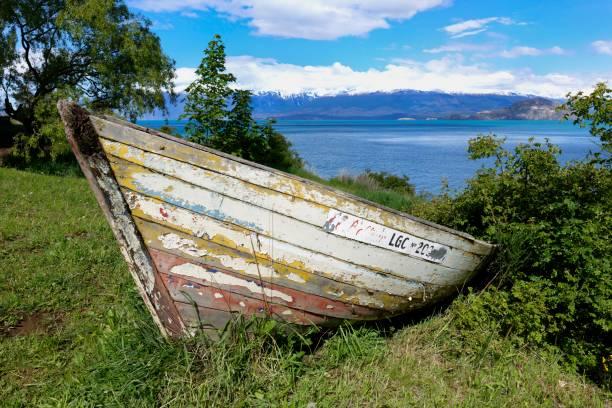 Old wooden canoe near General Carrera lake, Puerto Rio Tranquilo, Carretera Austral, Aysen Region, Patagonia, Chile