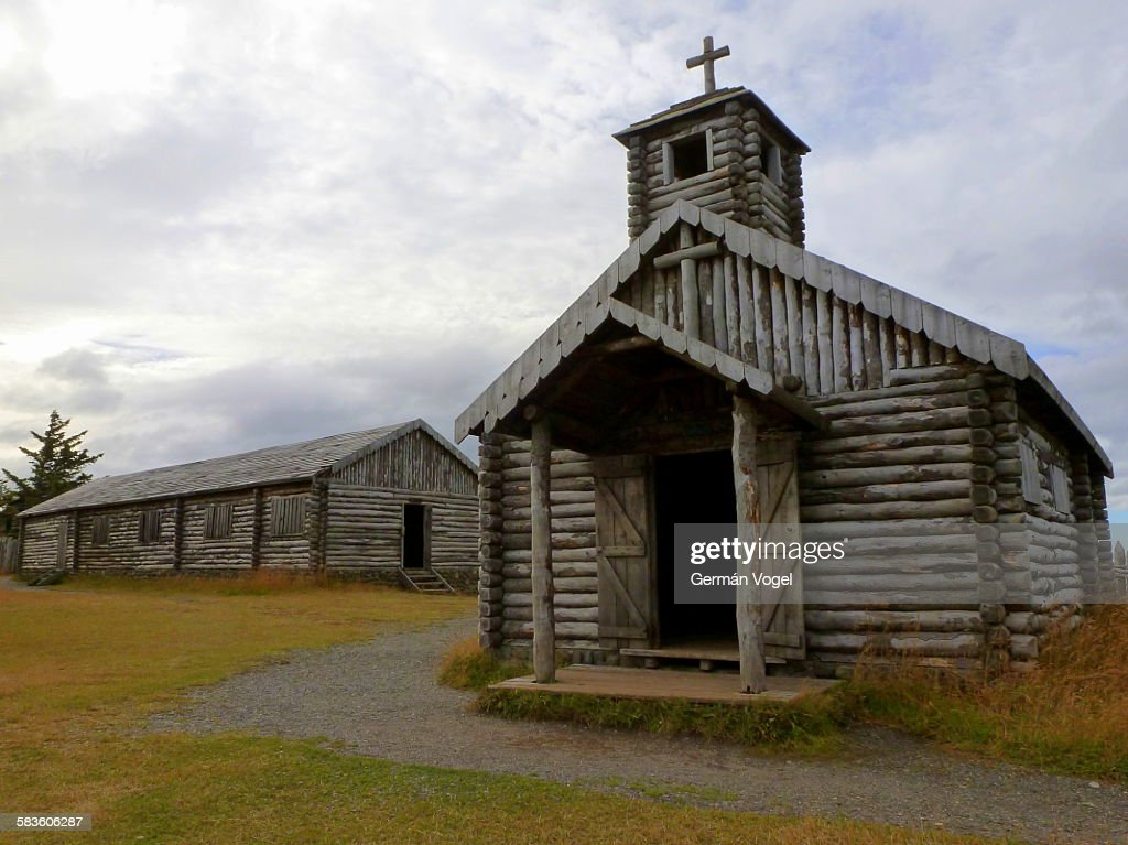 Old wooden church of Fuerte Bulnes in Chile : Stock Photo