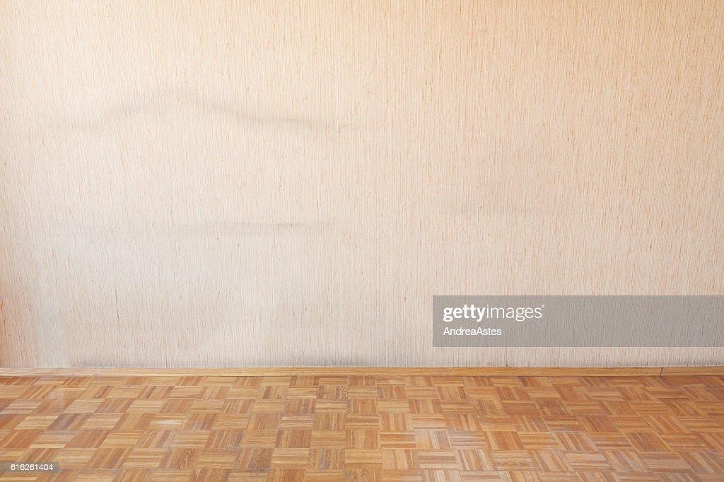 Old wooden floor in empty room interior : Stock Photo