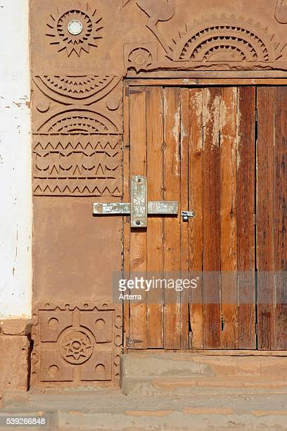 Old wooden Nubian door in the city Wadi Halfa Sudan North Africa