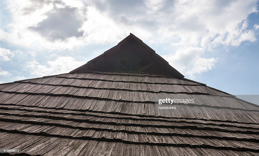 Old wooden shingle roof : Stock Photo