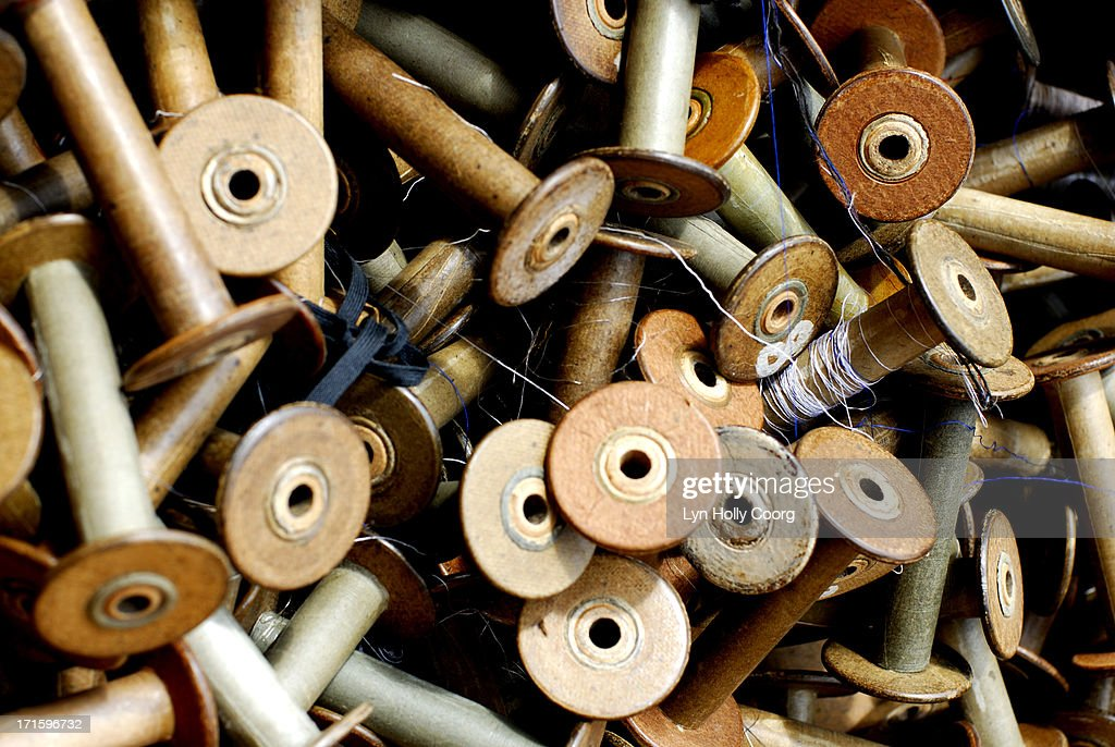 Old wooden spools for sale : Stock Photo