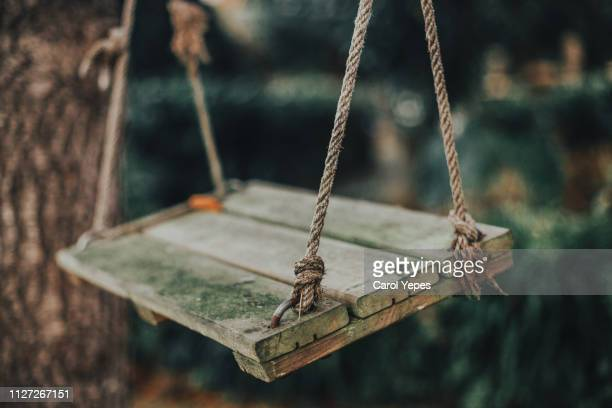 old wooden   swing - swing stock pictures, royalty-free photos & images