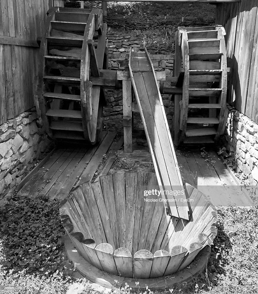 Old Wooden Watermill Outdoors : Stock Photo