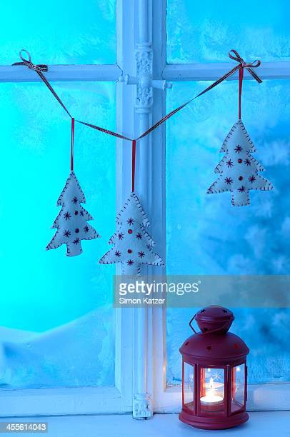 Old wooden window with Christmas decoration