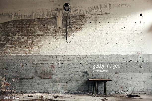 Old workshop with white and gray brick walls