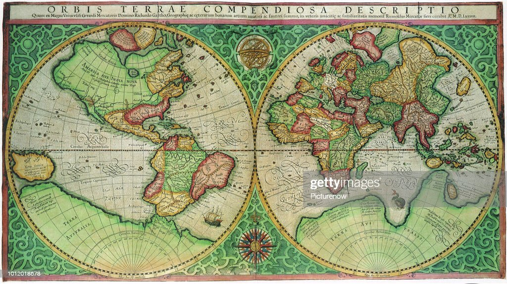 1587 World Map.Old World Map 1587 Mercator Rumold News Photo Getty Images