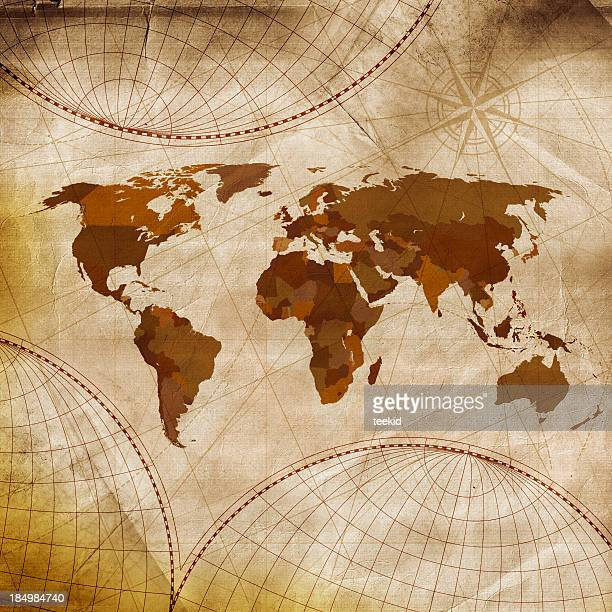 Old world map in shades of brown and white