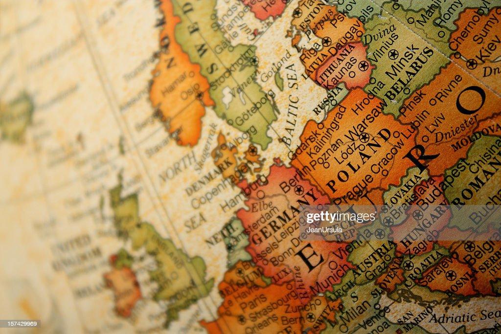 Alte-Welt-Karte Europa : Stock-Foto