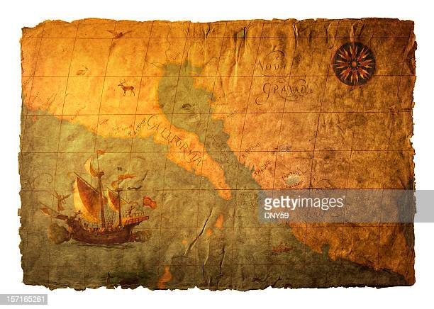 old world map on richly textured surface - pirate ship stock photos and pictures