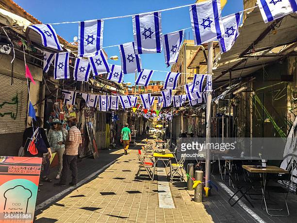 Old Yafo streets full of tourists, Tel Aviv, Israel