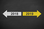 Old Year or New Year 2019 on Chalkboard Background