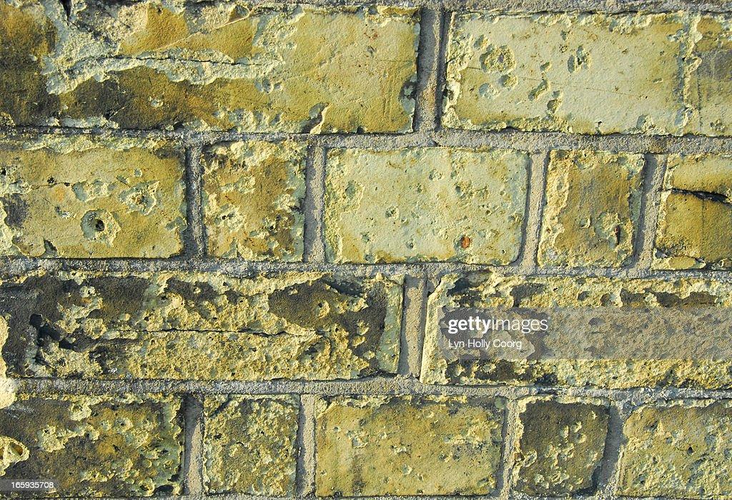 Old yellow brick wall : Stock Photo