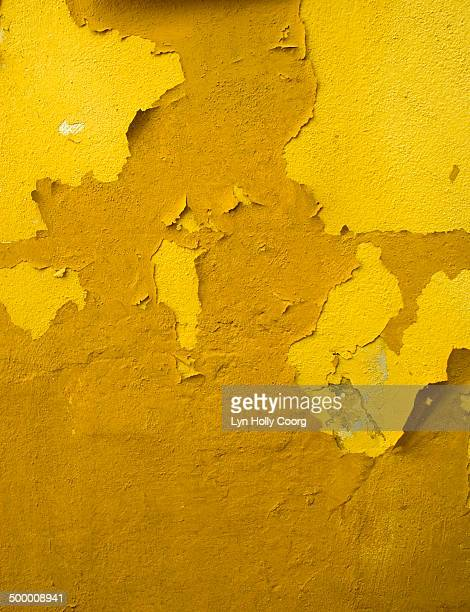 old yellow wall with peeling paint - lyn holly coorg stock photos and pictures