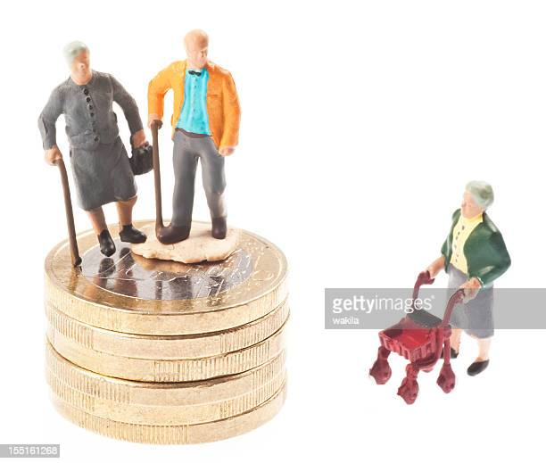 old-age pension with money - Rentner auf euro coins