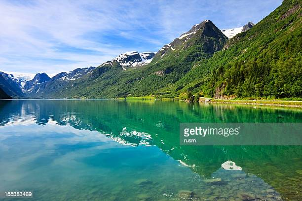 Olden lake near Briksdalsbreen Glacier, Norway