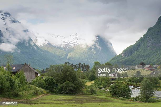 olden - norway - traditionally norwegian stock pictures, royalty-free photos & images