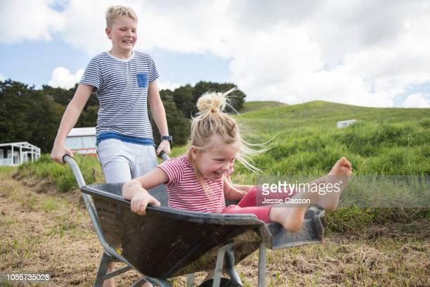 older brother pushing little sister on a wheelbarrow - north island new zealand stock pictures, royalty-free photos & images
