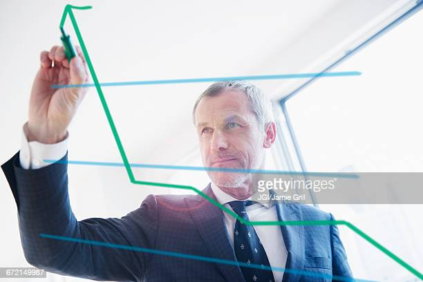 Older Caucasian businessman drawing chart on glass wall