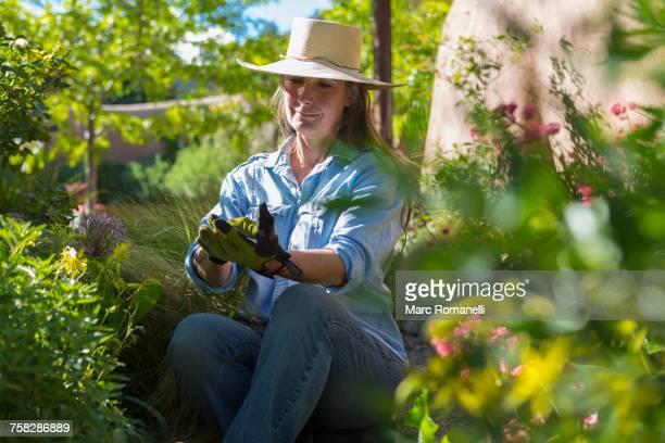 Older Caucasian woman gardening