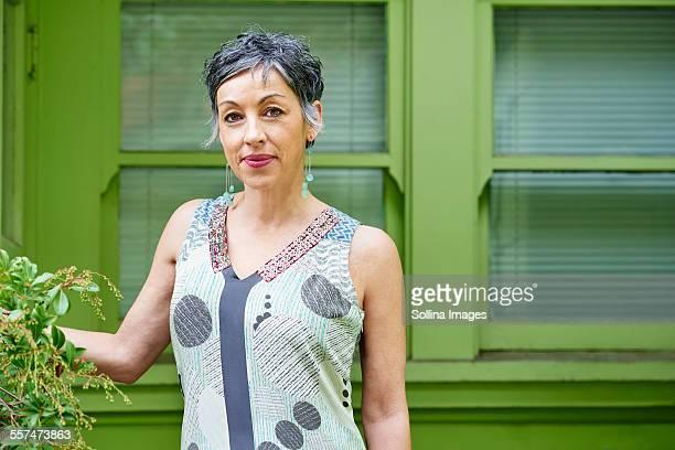 Older Caucasian woman standing outdoors