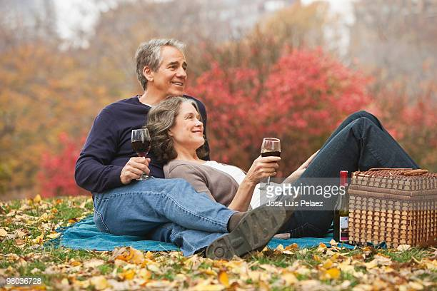 Older couple having picnic in a park