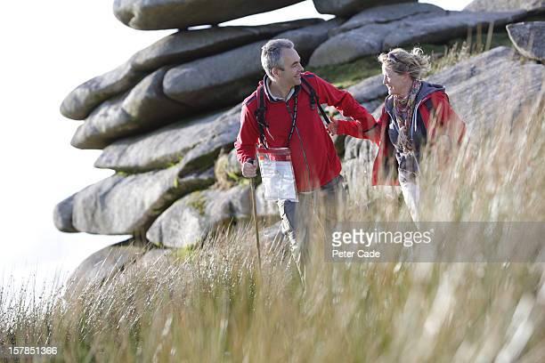Older couple hiking