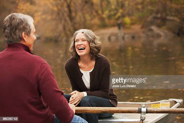 Older couple in a rowboat