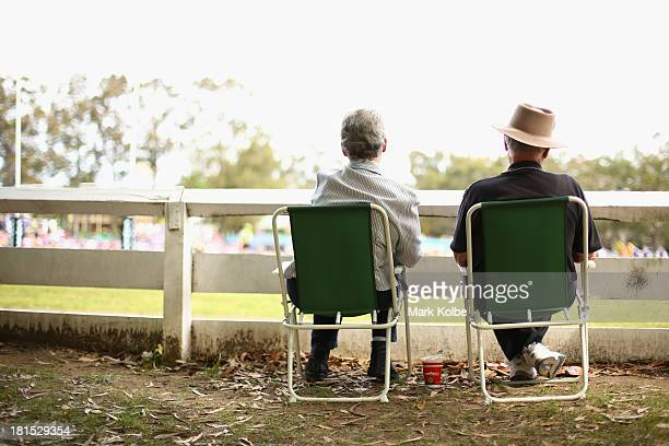 A older couple watch on during the Country Rugby League South Coast Group 7 Grand Final match between the Warilla Lake South Gorillas and the...