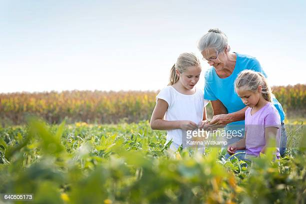 Older female farmer with granddaughters