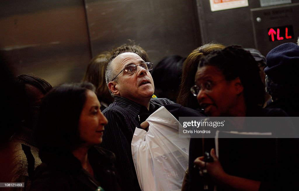 Older job-seekers crowd into an elevator on the way to a employment seminar at a 'Work Search' event aimed at older unemployed people January 18, 2011 at a high school gymnasium in the Harlem neighborhood of New York City. The event, sponsored by the American Association of Retired Persons (AARP), consisted of workshops for basic job skills like resume building targeted to an over-50 job seeking demographic. Unemployment for older worker has decreased slightly in the past year, though rates are still three times higher than they were a decade ago, when only 2.5 percent of people over 45 were jobless.