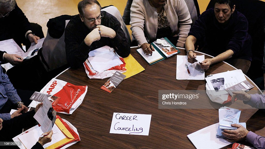 Older job-seekers participate in a career counseling session at a 'Work Search' event aimed at older unemployed people January 18, 2011 at a high school gymnasium in the Harlem neighborhood of New York City. The event, sponsored by the American Association of Retired Persons (AARP), consisted of workshops for basic job skills like resume building targeted to an over-50 job seeking demographic. Unemployment for older worker has decreased slightly in the past year, though rates are still three times higher than they were a decade ago, when only 2.5 percent of people over 45 were jobless.