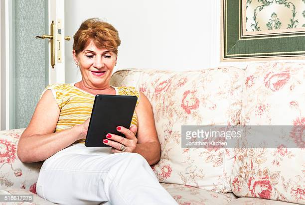 Older lady using a tablet computer