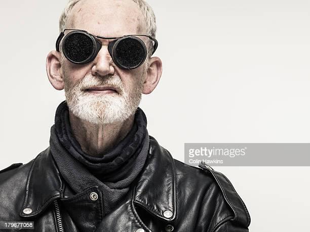 Older male biker