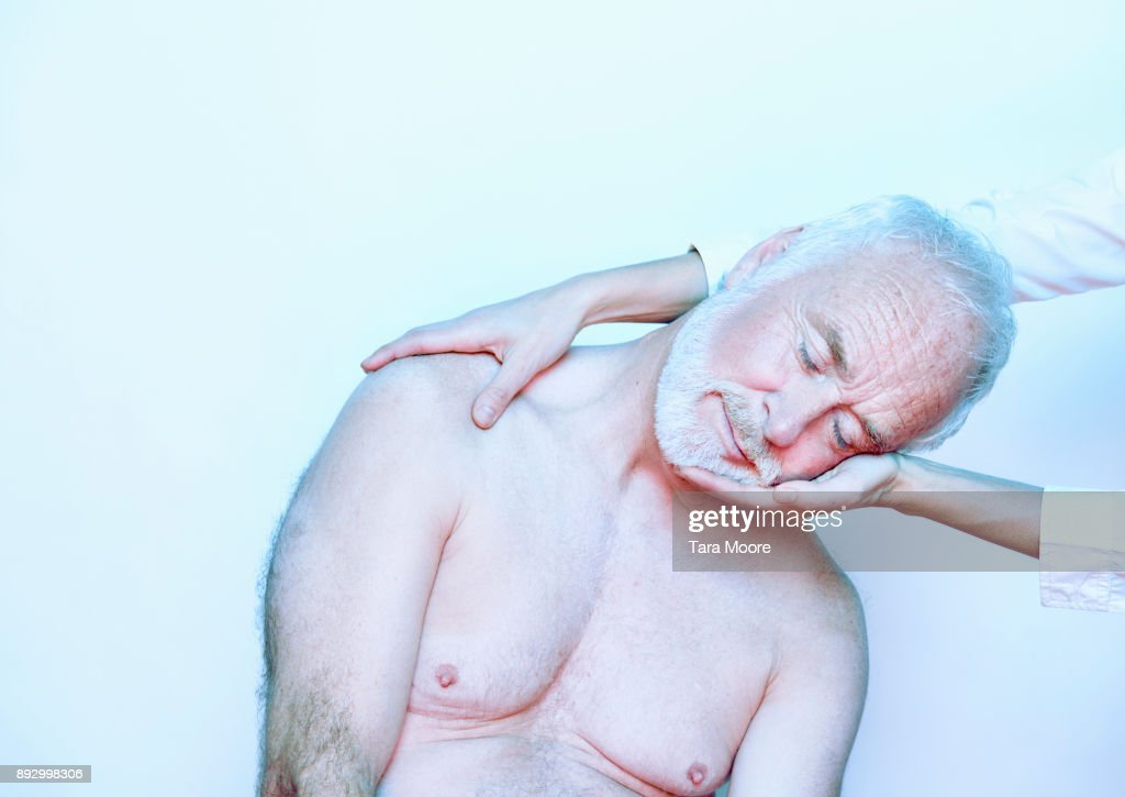 older man getting massage