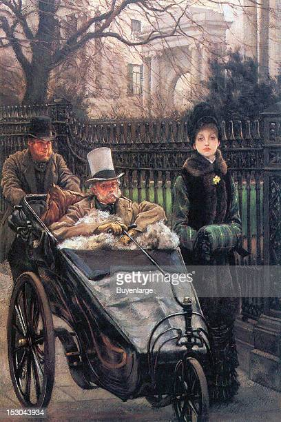 A older man in cart is wheeled by a pusher while the daughter of the man walks alongside in a fur tripped coat and a muff 1865 By James Tissot