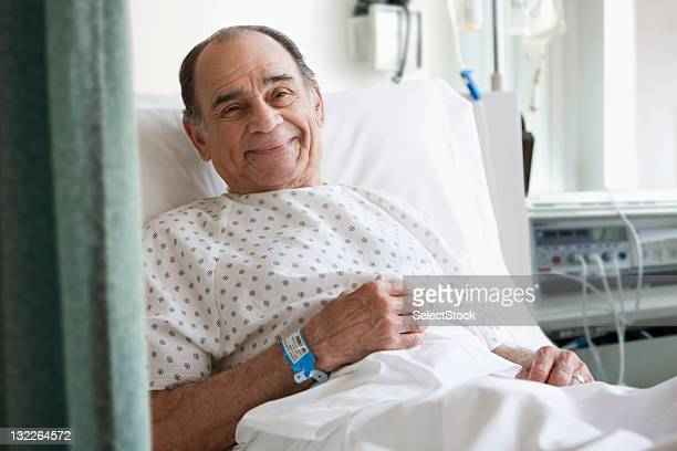 Older man in hospital bed