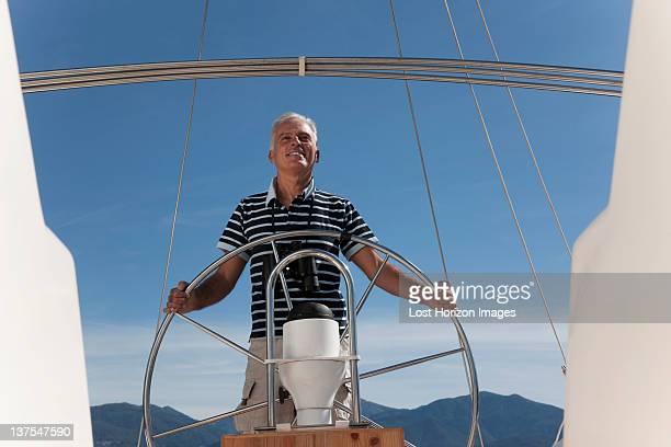 Older man sailing