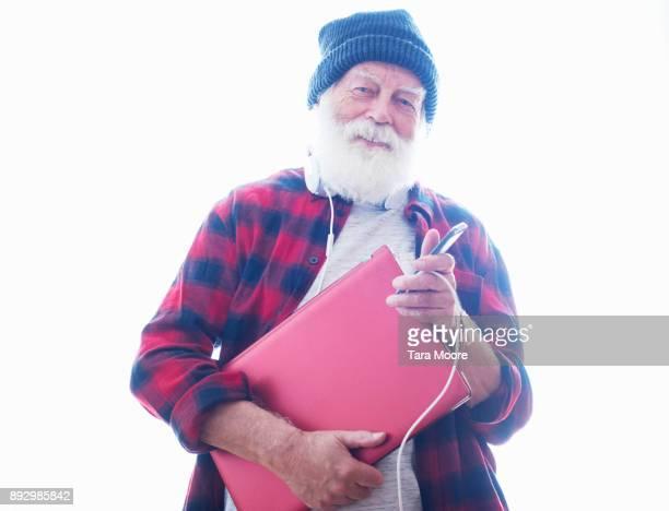 older man with laptop