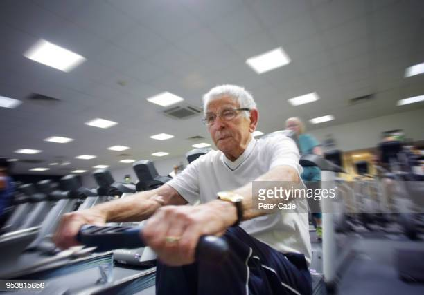 Older man working out in gym