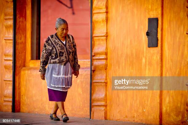 Older Mayan woman in streets of Antigua, Guatemala.