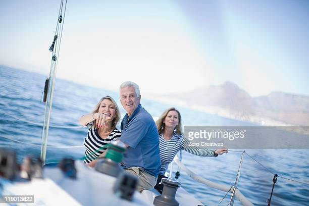 Older people sitting together on boat