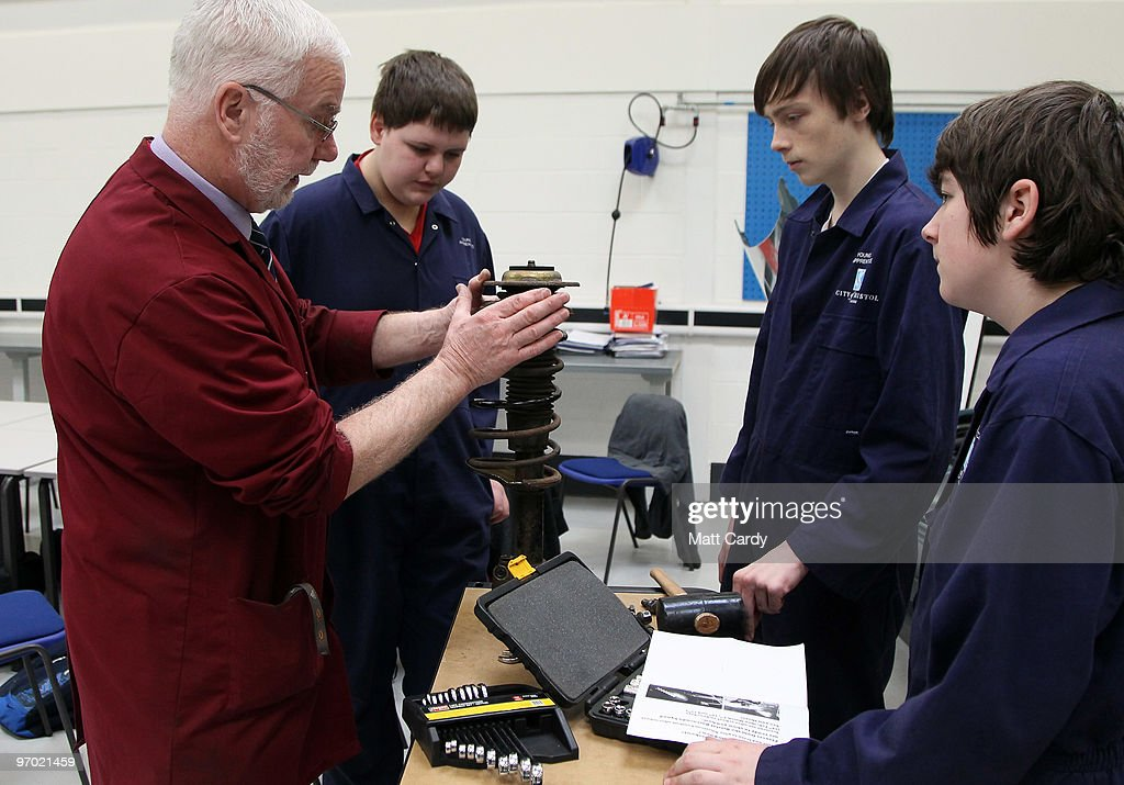 Older pupils at the Bridge Learning Campus learn motor car mechanics on February 24, 2010 in Bristol, England. The 40million GBP campus in Hartcliffe, Bristol, was constructed as part of the Government's Building Schools for the Future programme and opened in January 2009. It now offers over 800 pupils a life long provision of learning from nursery, reception and primary to secondary and post-16 education. As the UK gears up for one of the most hotly contested general elections in recent history it is expected that that the economy, immigration, the NHS and education are likely to form the basis of many of the debates.