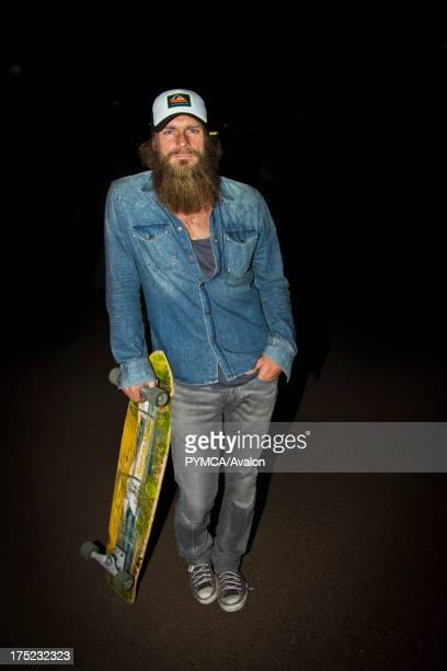 Older skateboarder with a longboard Helsinki 2010