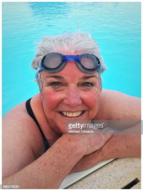 older woman in pool