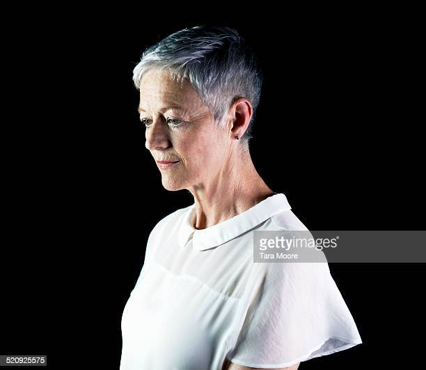 older woman looking sad - short hair stock pictures, royalty-free photos & images